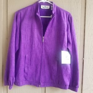 Erin London women's purple Zip front long sleeve .